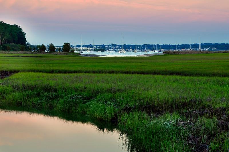 Marshland and boat Harbor, Jamestown Rhode Island
