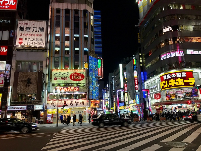 Crossing the road towards Kabukicho.