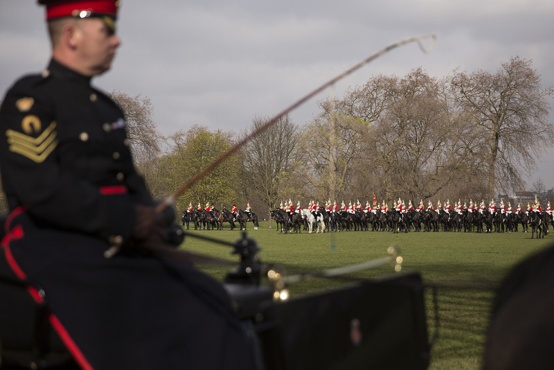 . The Household Cavalry Mounted Regiment have their annual \'Major General\'s Inspection\' in Hyde Park on March 20, 2014 in London, England. The annual Major General\'s Inspection, by Major General Ed Smyth-Osbourne, takes place to check the regiment ahead of their State Ceremonial duties for the year.  (Photo by Oli Scarff/Getty Images)