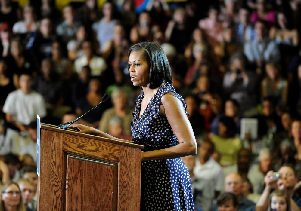 Description of . First Lady of the United States, Michelle Obama, on a grassroots campaign stop at Arapahoe High School Wednesday morning, June 20th, 2012, to help re-elect her husband, President of the United States, Barack Obama. Andy Cross, The Denver Post