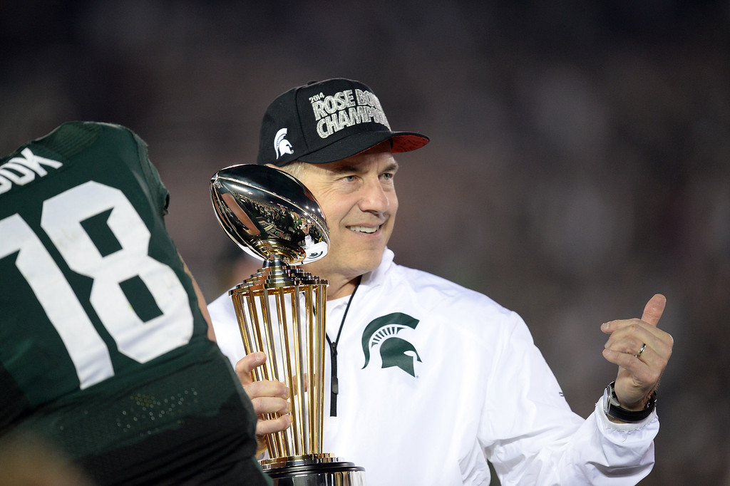 . Michigan State head coach Mark Dantonio  gives the thumbs up after winning the 100th Rose Bowl game in Pasadena Wednesday, January 1, 2014. Michigan State defeated Stanford 24-20. (Photo by Hans Gutknecht/Los Angeles Daily News)