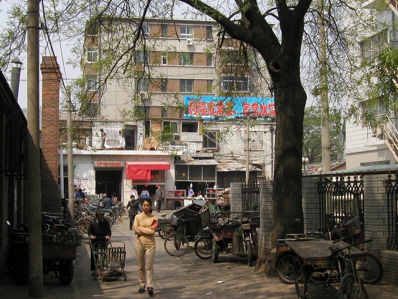 shops and activity near  Beijing friend's apartment block - 2002