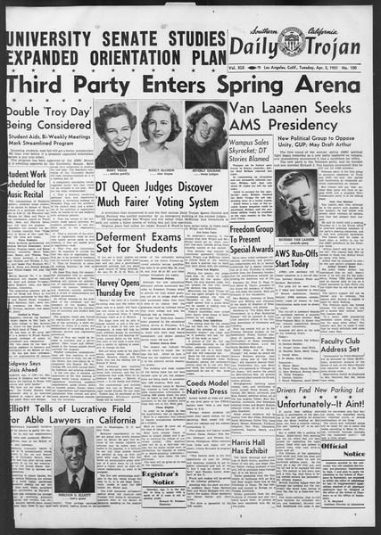 Daily Trojan, Vol. 42, No. 100, April 03, 1951