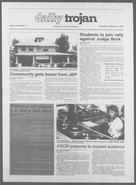 Daily Trojan, Vol. 105, No. 19, September 30, 1987