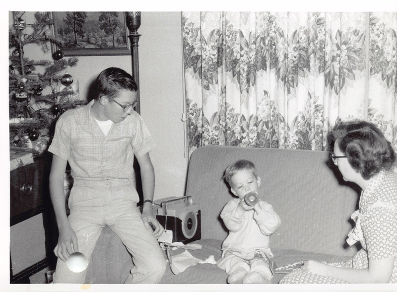 Phil, David, Frankie, Christmas 1955