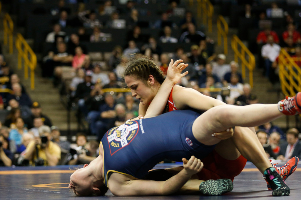 . Denver\'s Adeline Gray attempts a two-point takedown in the championship round at the 2016 U.S. Olympic Trials at Carver-Hawkeye Arena in Iowa City, Iowa on Sunday, April 10, 2016. The three-time world champion hopes to become the first American woman to win an Olympic gold medal in Rio this summer. Gray won the first of her two bouts by decision 11-0. (Rebecca F. Miller for The Denver Post)