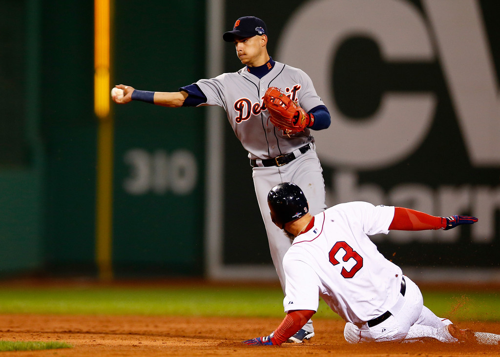 . BOSTON, MA - OCTOBER 12: Jose Iglesias #1 of the Detroit Tigers throws to first base against the Boston Red Sox during Game One of the American League Championship Series at Fenway Park on October 12, 2013 in Boston, Massachusetts.  (Photo by Jared Wickerham/Getty Images)