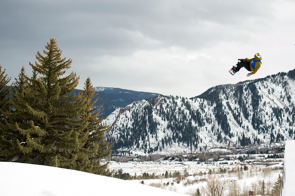 . Mark McMorris of Canada hits a backside triple cork 1440 over the final jump of his second run during the men\'s snowboard slopestyle event at Winter X Games 2016 Aspen at Buttermilk Mountain on January 30, 2016, in Aspen, Colorado. McMorris won the event on his second run with a score of 92.66. (Photo by Daniel Petty/The Denver Post)