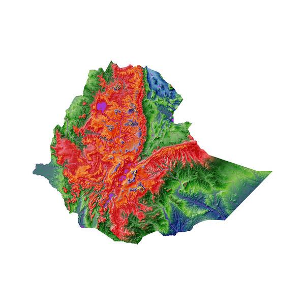 Elevation map of Ethiopia