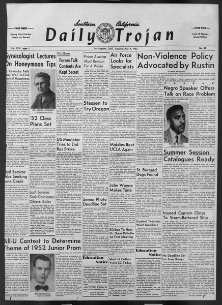 Daily Trojan, Vol. 43, No. 88, March 04, 1952