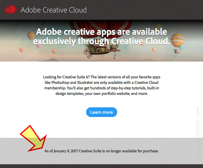 Adobe web page for ordering Photoshop CS6