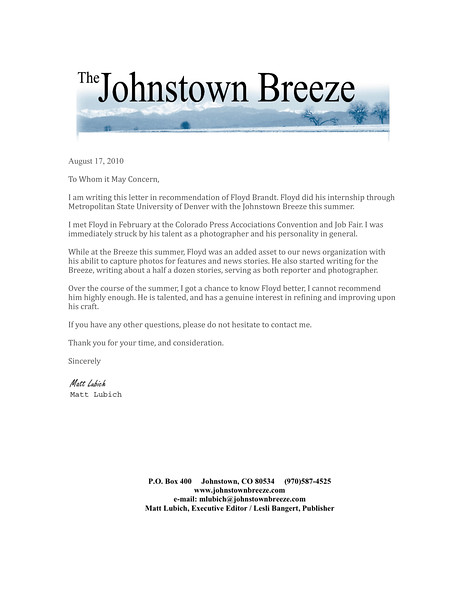JTB letter of Recommendation