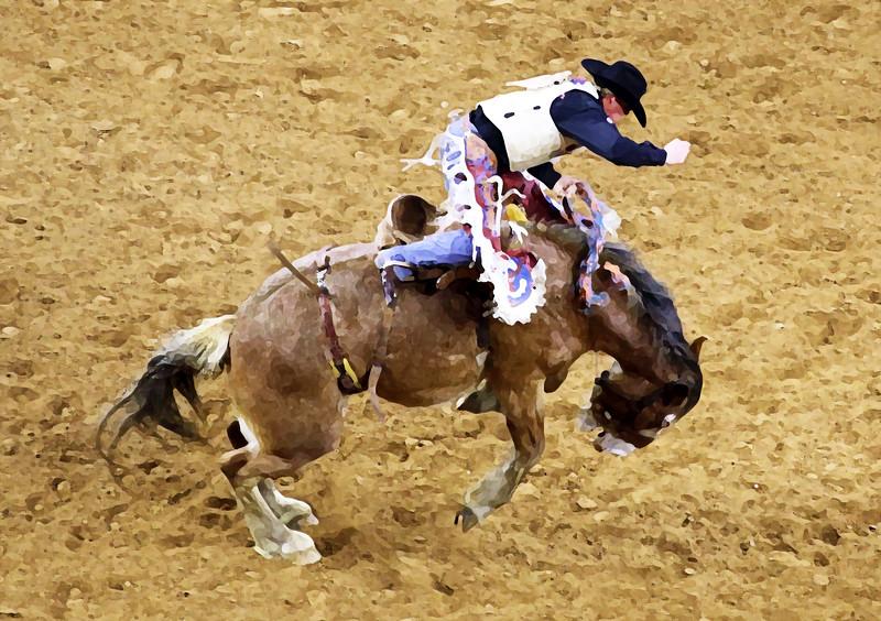 Dry brush rendition of saddle bronc rider