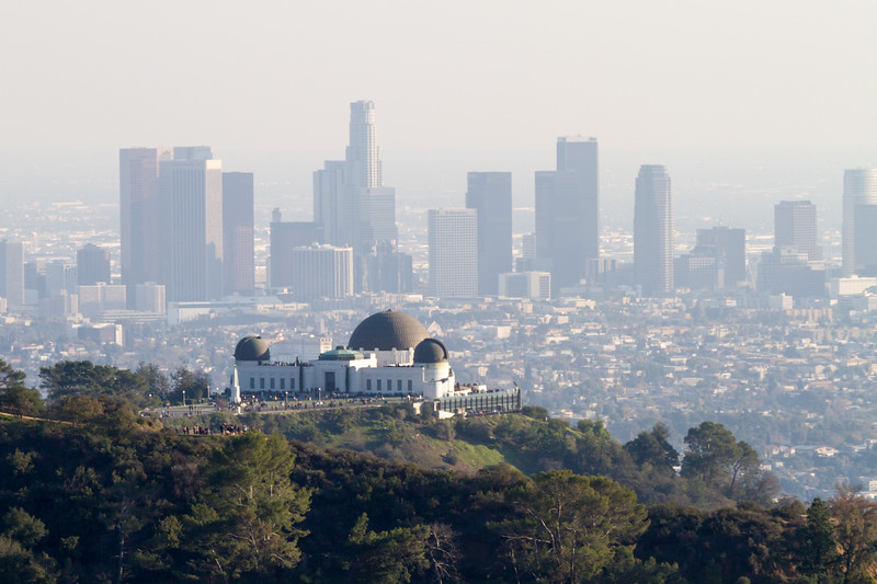 Griffith Observatory in front of downtown Los Angeles, distant view - USA - California - Los Angeles