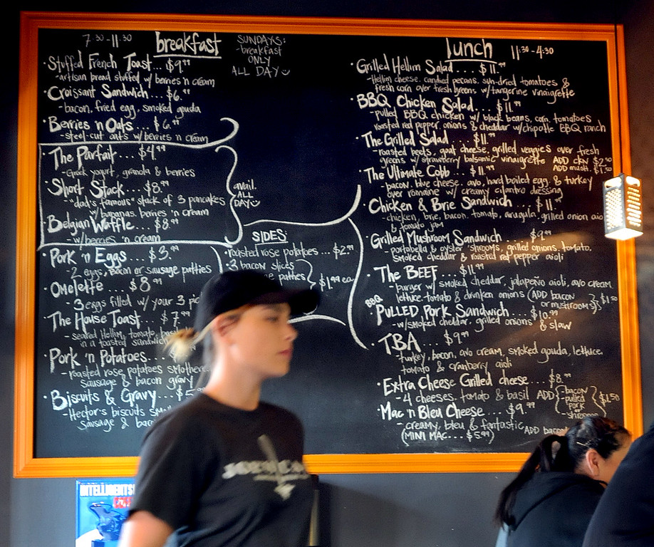 """. A menu board at Joe\'s Cafe in Granada Hills, CA on Wednesday, March 19, 2014.  Chef and Co-owner Joe Wetherbee won the Food Network\'s \""""Chopped, \""""Dread and Breakfast\"""" episode which aired on Tuesday night.  (Photo by Dean Musgrove/Los Angeles Daily News)"""