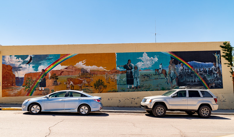 mural with rainbow and native indians
