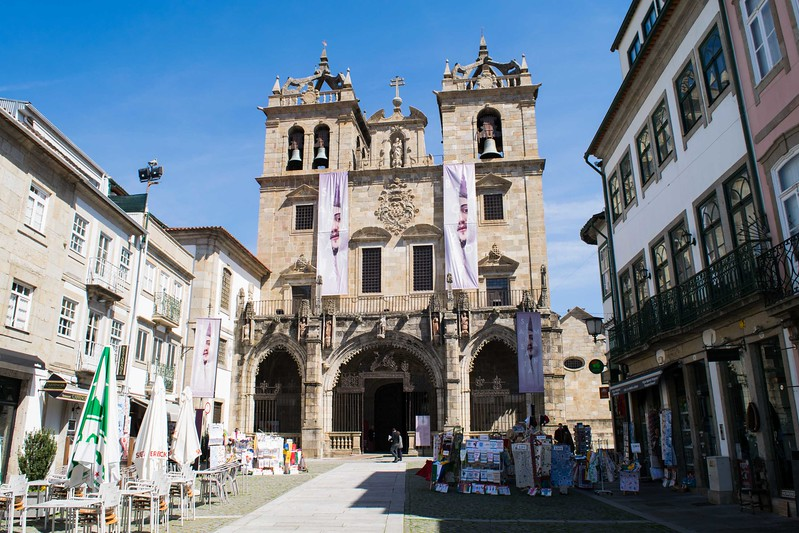 The towers of historic Braga Cathedral.
