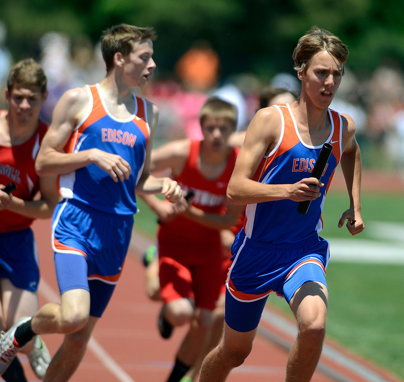 . Maribeth Joeright/MJoeright@News-Herald.com <p> The Edison boys 4X800 meter relay team took second place in their Division II event during the  state championship meet in Columbus,  June 6, 2014.