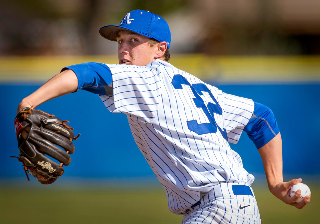 . Bishop Amat\'s starting pitcher Andrew Eppenbach vs Serra High at Amat\'s La Puente, Calif. campus field April 16, 2014.  (Staff photo by Leo Jarzomb/San Gabriel Valley Tribune)