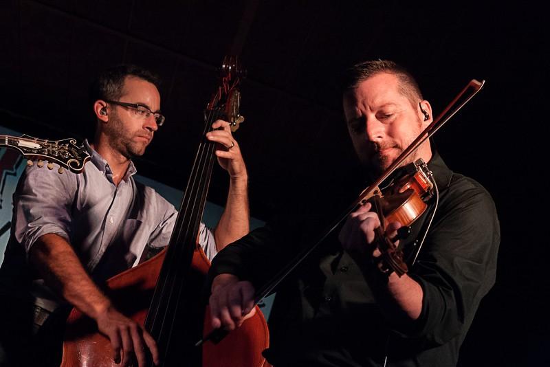 Alan Bartram (bass) and Jason Carter (fiddle) of The Travelin' McCourys.