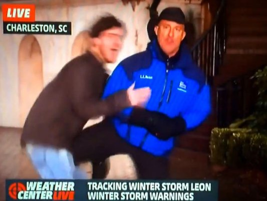 """. <p>8. JIM CANTORE <p>First weatherman to kick someone in the groin on the air since Paul Douglas� 1993 nut shot on Paul Magers. (unranked) <p><b><a href=\'http://www.dailymail.co.uk/news/article-2548075/Now-thats-cold-College-student-pounces-Weather-Channel-host-Jim-Cantore-live-broadcast-gets-kneed-crotch.html\' target=\""""_blank\""""> HUH?</a></b> <p>   (Photo from YouTube)"""