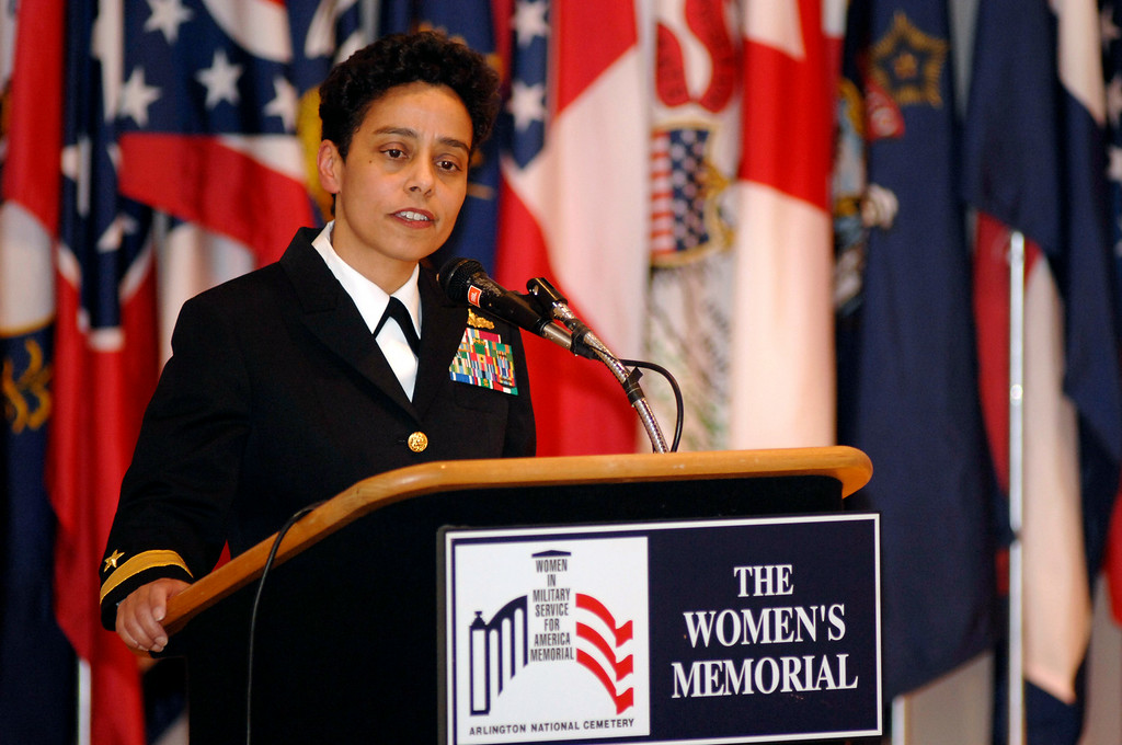 . In this photo made available by Navy Visual News, Rear Adm. Michelle Howard remarks on her time in service, during her frocking ceremony Friday, April 20, 2007 at Arlington National Cemetery in Arlington, Va.  Howard is the first female graduate of the U.S. Naval Academy to be promoted to Rear Admiral. (AP Photo/Navy Visual News, Chief Petty Officer Shawn P. Eklund)