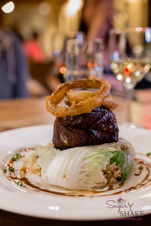 Maui Cattle Co. Filet Mignon over fried rice. #MalamaMaui media dinner at Hāna Ranch Restaurant. © 2015 Sugar + Shake