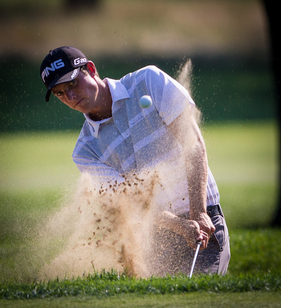 Chris Williams of Moscow, ID hits a bunker shot on 15 during second round medal play at the 2012 Western Amateur Championship at Exmoor Country Club in Highland Park IL. on Wednesday, August 1, 2012. (WGA Photo/Charles Cherney)