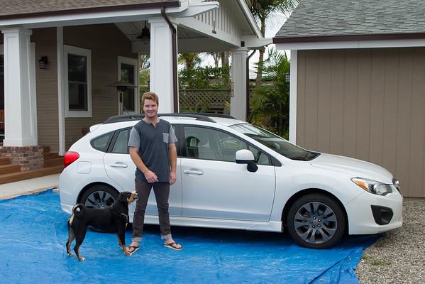 Kendall and his  new to him 2012 Subaru Impreza hatchback 5-25-2015