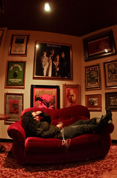 Milkanette Ramos takes a moment to meditate before performing at Hard Rock Live Orlando on 04-21-2004