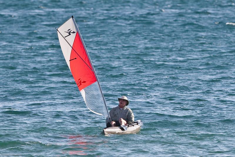 Me, tryng to sail the kayak