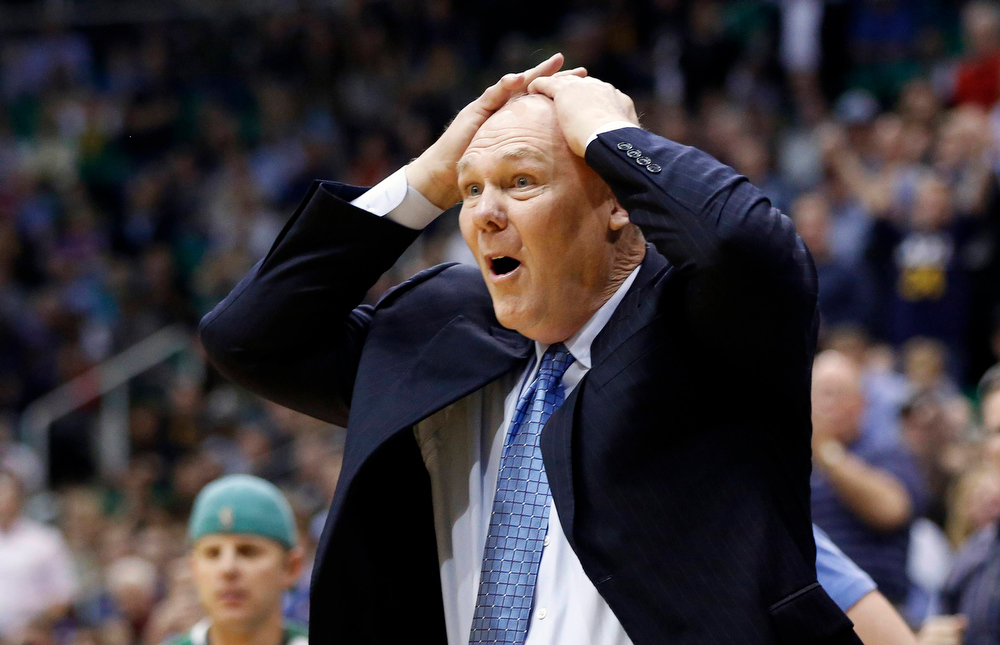 . Denver Nuggets head coach George Karl reacts to a call during the second half of the NBA basketball game against the Utah Jazz in Salt Lake City, Utah, November 26, 2012. REUTERS/Jim Urquhart