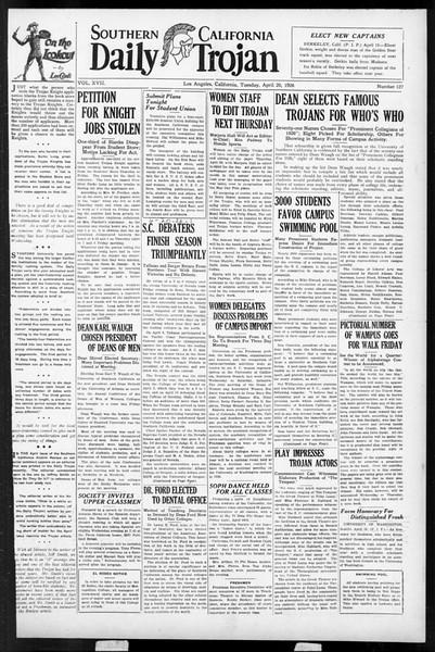 Daily Trojan, Vol. 17, No. 127, April 20, 1926