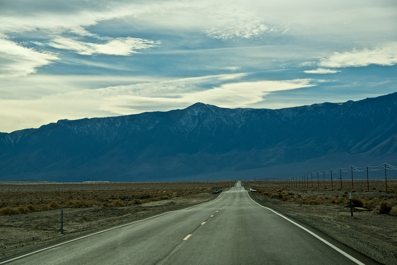 Snow covered Sierras, coming out of Death Valley towards San Francisco