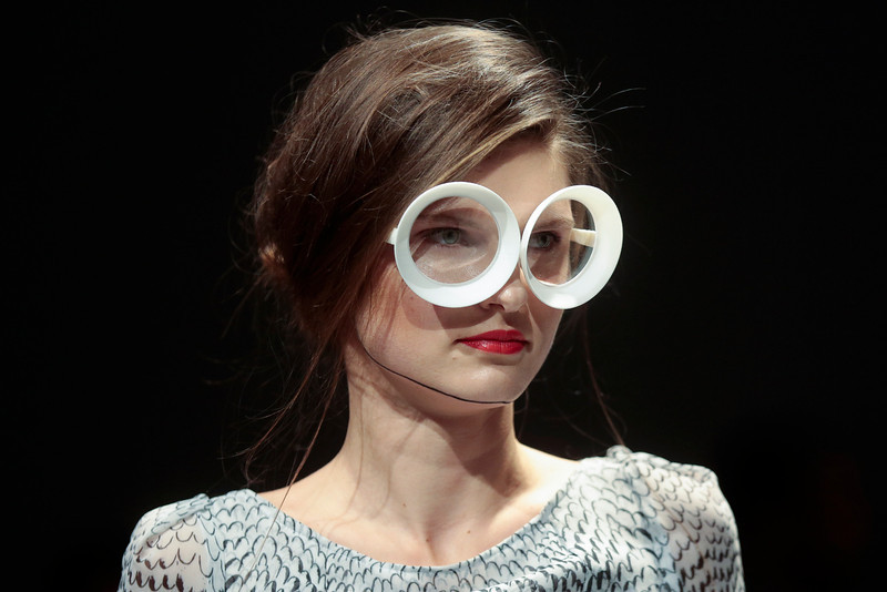 . A model presents a creation of fashion label Malaikaraiss\'  Autumn Winter 2014 collection during the Mercedes Benz Fashion Week in Berlin, Wednesday, Jan. 15, 2014. (AP Photo/Markus Schreiber)