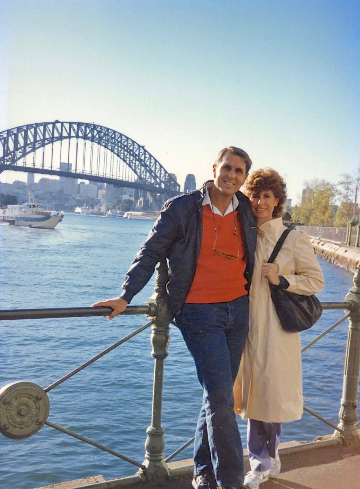 Tom and Betty on a bridge in Sidney, Trip to Australia June 23 - July 1, 1985 with Jurgen and Gisla - Version 2
