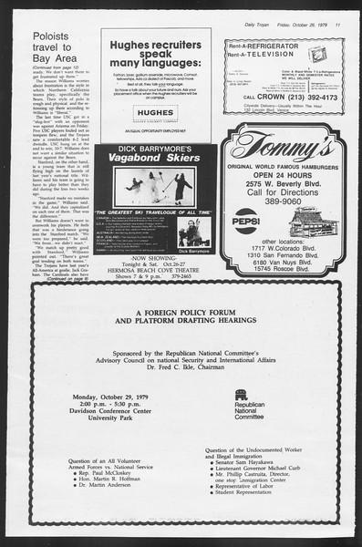 Daily Trojan, Vol. 87, No. 30, October 26, 1979