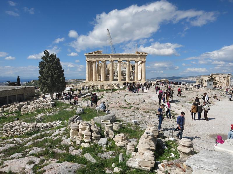 East portico of Parthenon. Erechtheum at far right.