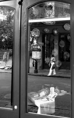 Reflections in a restaurant window.  New Orleans, Louisiana -2006