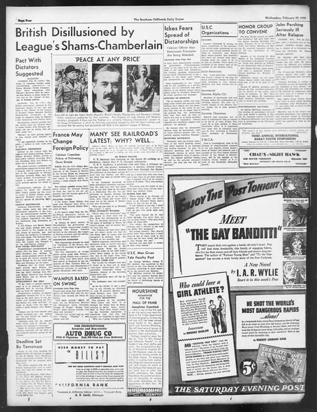 Daily Trojan, Vol. 29, No. 85, February 23, 1938