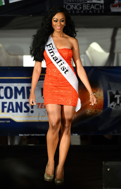 . Long Beach, Calif., -- 04-18-13-  Finalist Shannon Fox competes in the 2013 Tecate Light Miss Toyota Grand Prix of Long Beach  pageant Thursday night on Pine Avenue at the Tecate Light Thunder Thursday on Pine.   Stephen Carr/  Los Angeles Newspaper Group