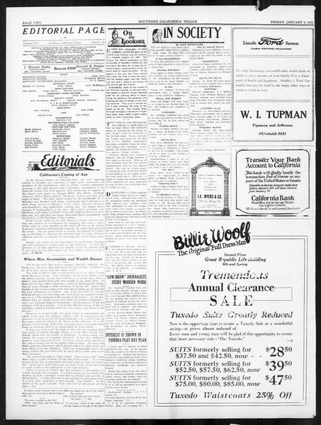 The Southern California Trojan, Vol. 16, No. 38, January 09, 1925