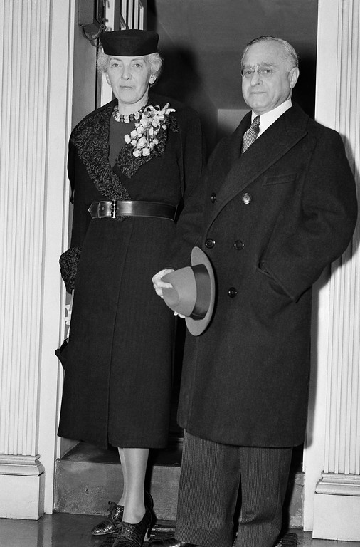 . Felix Frankfurter and wife Marion are shown leaving their home in Washington, D.C., Jan. 30, 1939 for the Supreme Court where the 56 year old Harvard Law Professor took his seat as the newest Associate Justice. The seating of Frankfurter, who came to the United States as a poor immigrant boy, brings the Court up to its full strength of nine members. (AP Photo)