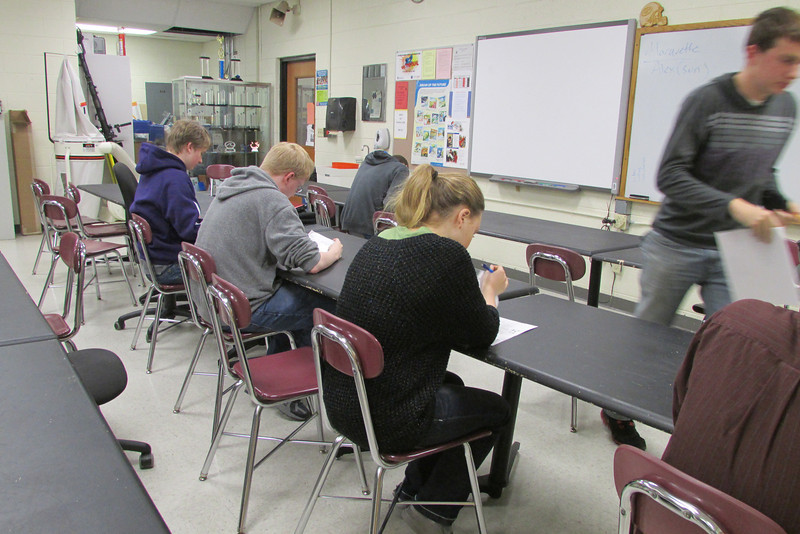 Students taking safety test