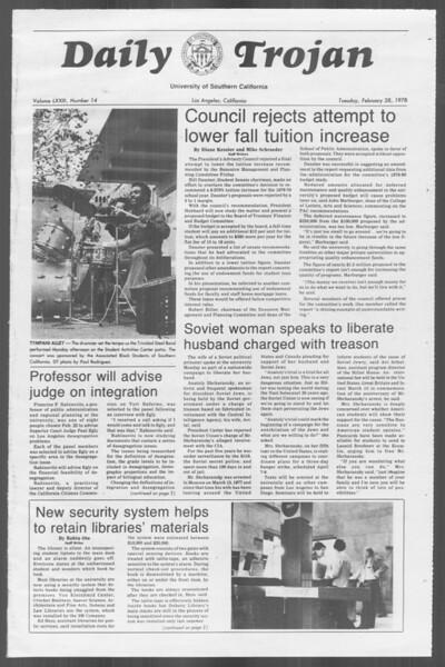 Daily Trojan, Vol. 73, No. 14, February 28, 1978