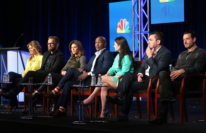 """. Host Alison Sweeney, trainers Bob Harper, Jillian Michaels, Dolvett Quince, Dr. Joanna Dolgoff, Child Obesity Expert/ Pediatrician, executive producers Eden Gaha, and Dave Broome speak onstage at the \""""The Biggest Loser\"""" panel discussion during the NBCUniversal portion of the 2013 Winter TCA Tour- Day 3 at the Langham Hotel on January 6, 2013 in Pasadena, California.  (Photo by Frederick M. Brown/Getty Images)"""