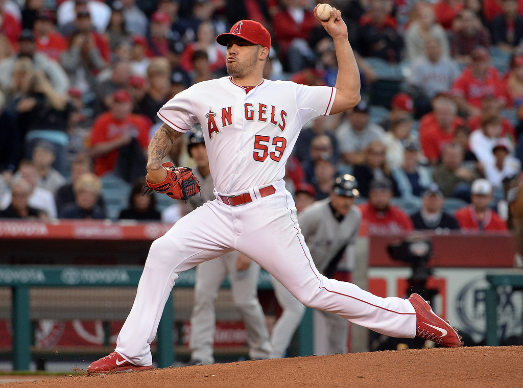 . Los Angeles Angels starting pitcher Hector Santiago throws to the plate against the New York Yankees in the first inning of a baseball game at Anaheim Stadium in Anaheim, Calif., on Wednesday, May 7, 2014.  (Keith Birmingham Pasadena Star-News)