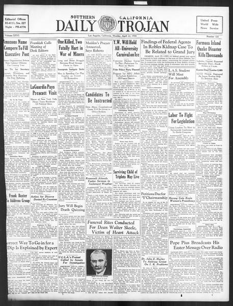 Daily Trojan, Vol. 26, No. 121, April 22, 1935