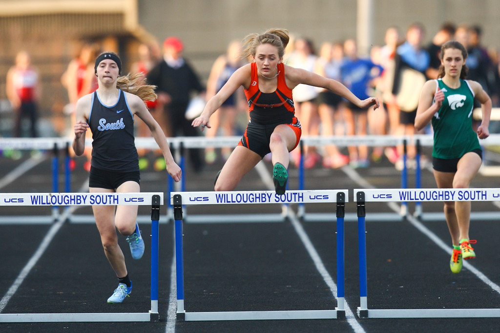 . 2018 - Track and Field - Willoughby South Invitational.  300 Meter Hurdles.  Calissa Urban of Normandy won.