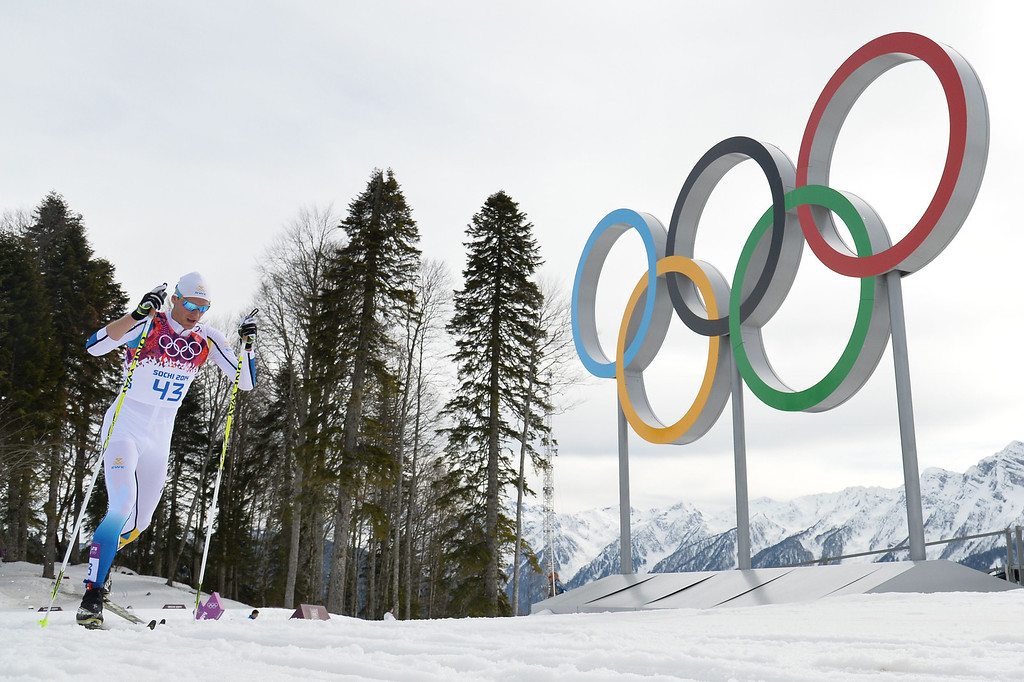 . Bronze medalist Sweden\'s Daniel Richardsson competes in the Men\'s Cross-Country Skiing 15km Classic at the Laura Cross-Country Ski and Biathlon Center during the Sochi Winter Olympics on February 14, 2014 in Rosa Khutor near Sochi. AFP PHOTO / ALBERTO PIZZOLI/AFP/Getty Images